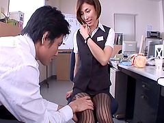 Office girl Akari Asahina getting kissed and fucked in the pussy