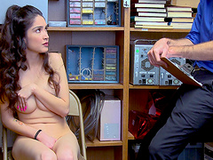 Skinny brunette Jericha Jem fucks with a horny security guard
