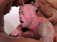 Tattooed gay guy gets his small butt destroyed by two friends